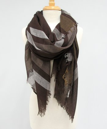 Brown & Gray Frayed Newbury Plaid Scarf
