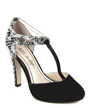 Black & White Deco Suede T-Strap Pump