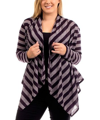 Plum Stripe Open Cardigan - Plus
