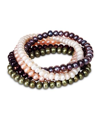 Pink & Brown Pearl Stretch Bracelet Set