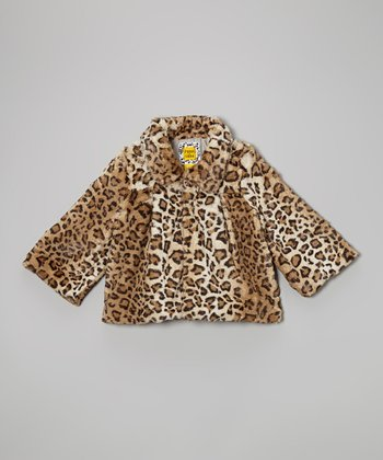 Brown Cheetah Trapeze Coat - Toddler & Girls