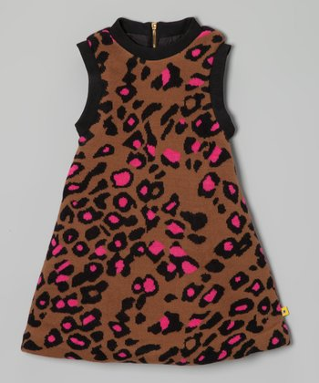 Brown & Pink Cheetah A-Line Dress - Toddler & Girls