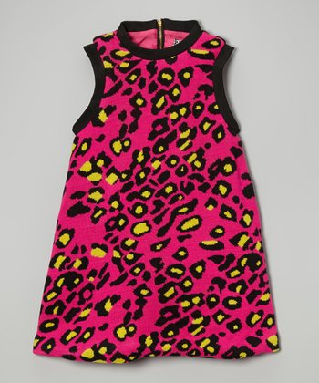 Magenta & Yellow Cheetah A-Line Dress - Toddler & Girls