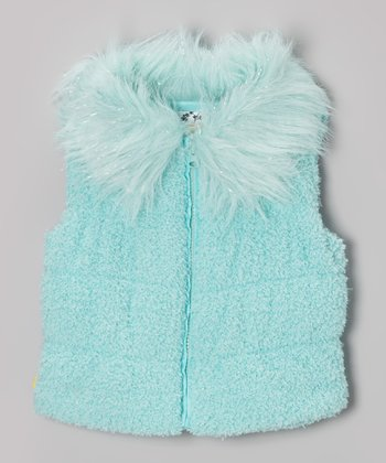 Aqua Sequin & Faux Fur Puffer Vest - Toddler & Girls