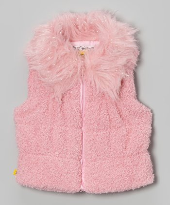 Pink Sequin & Faux Fur Puffer Vest - Toddler & Girls