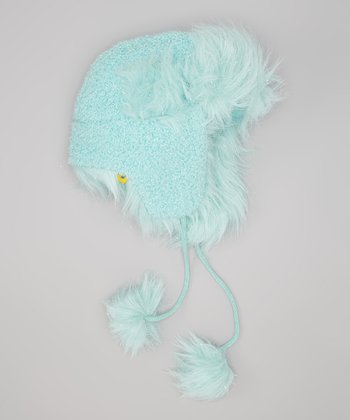 Aqua Faux Fur Shimmer Trapper Hat