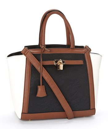 Black & White Color Block Corrine Satchel