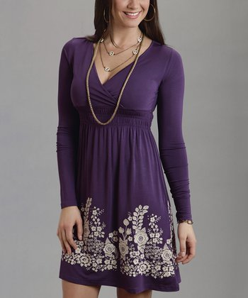 Purple Floral Embroidered Surplice Dress
