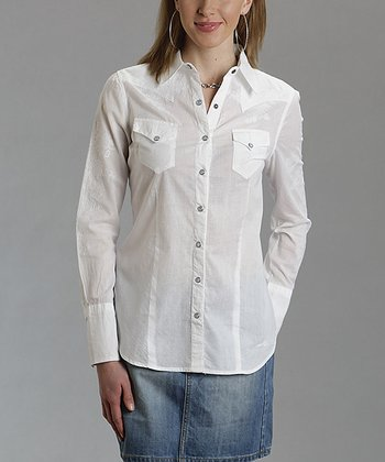 White Embroidered Western Button-Up - Women