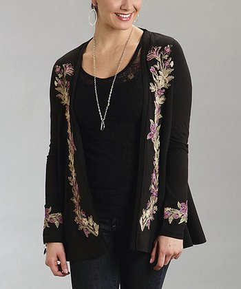 Black Floral Embroidered Open Cardigan - Women