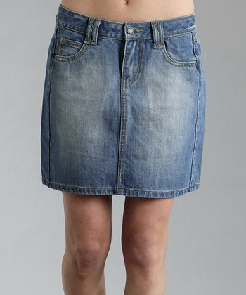 Blue Extra Faded Denim Skirt - Women