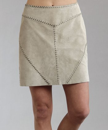 Beige Suede Pencil Skirt - Women