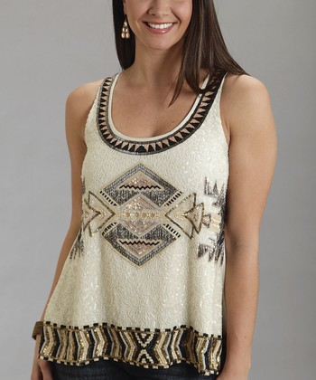 Cream Tribal Sequin Tank - Women