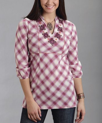 Pink Plaid Embroidered Notch-Collar Top - Women