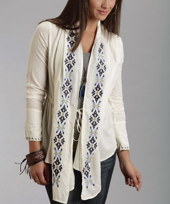 Cream Embroidered Tie-Front Cardigan - Women