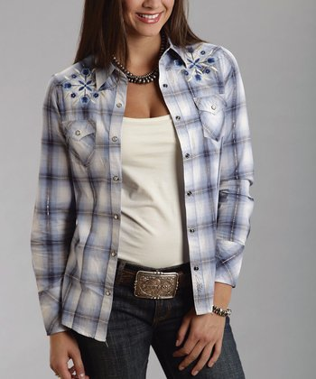 White & Blue Plaid Embroidered Button-Up - Women