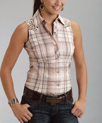 Light Pink Plaid Studded Sleeveless Button-Up - Women