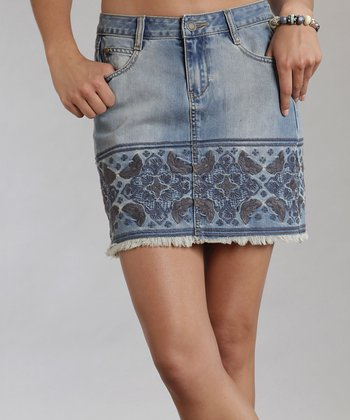 Blue Embroidered Denim Skirt - Women