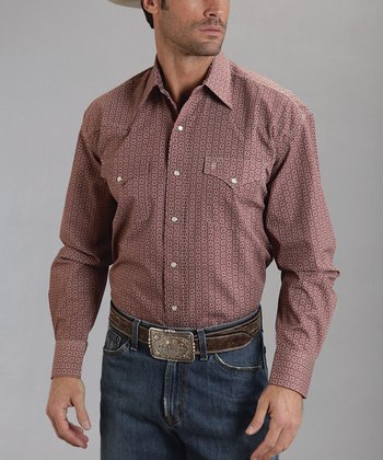 Red Roman Foulard Poplin Western Button-Up - Men