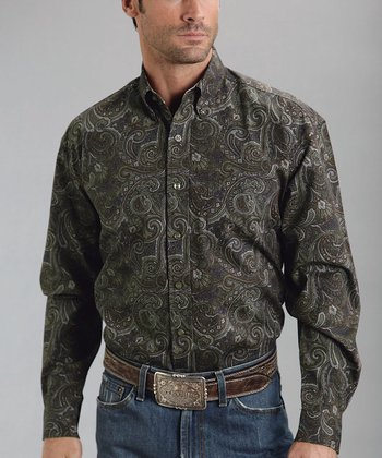 Brown Abilene Paisley One-Pocket Poplin Western Button-Up - Men