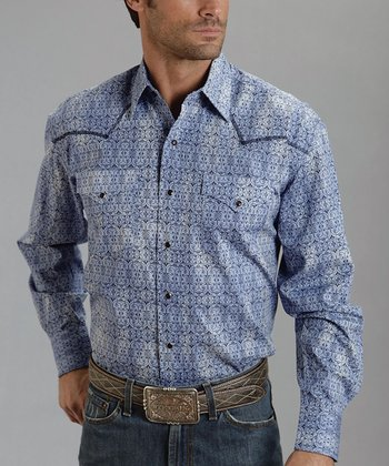 Blue Ironwork Poplin Western Button-Up - Men