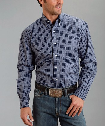 Blue Tiles Poplin Button-Up - Men