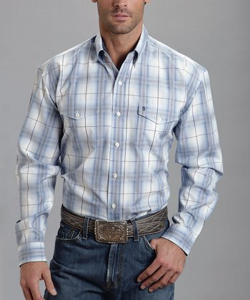 White & Blue Jet Plume Ombre Button-Up - Men