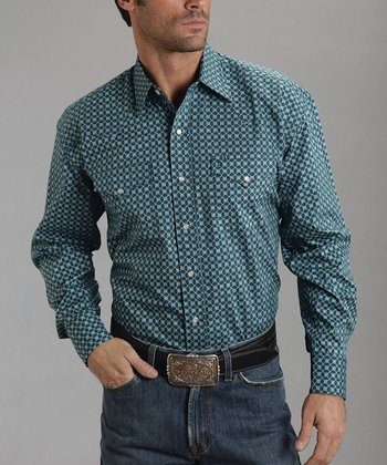 Blue Ex Checks Poplin Two-Pocket Button-Up - Men
