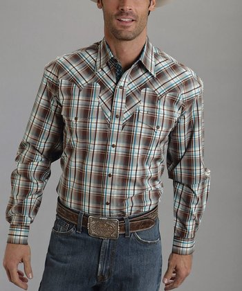Brown Club Plaid Flat-Weave Button-Up - Men