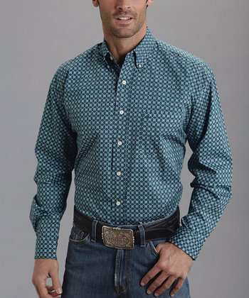 Blue Ex Checks Poplin Button-Up - Men