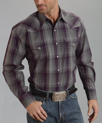 Gray Optic Check Flat-Weave Button-Up - Men