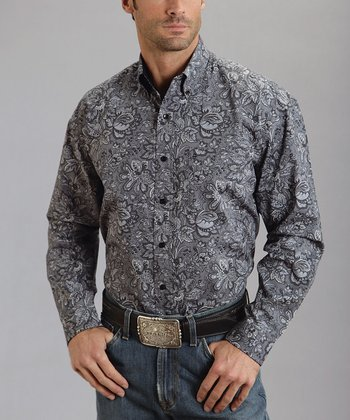 Gray Ted's Paisley One-Pocket Button-Up - Men