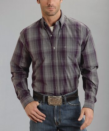 Gray Plaid Optic Check One-Pocket Button-Up - Men