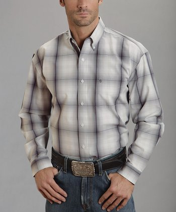 Smoke & Wine Plaid Ombre Button-Up - Men
