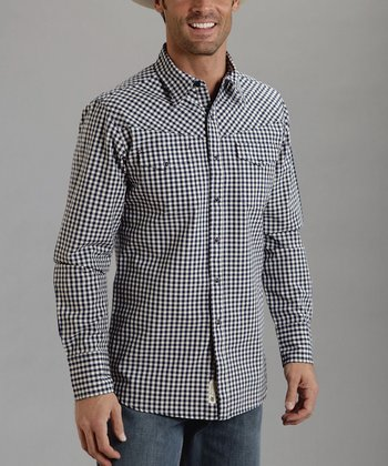 Navy Check Plaid Button-Up - Men