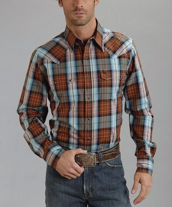 Terra-Cotta Plaid Button-Up - Men
