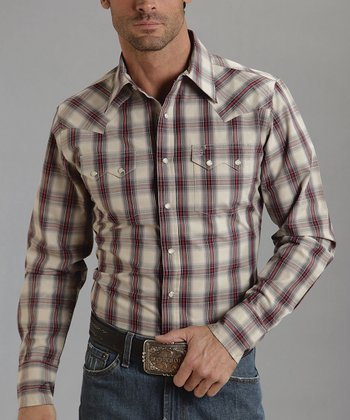 Gray Plaid Button-Up - Men