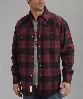 Red Earth Plaid Brushed Twill Button-Up - Men