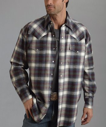 White Center Plaid Button-Up - Men