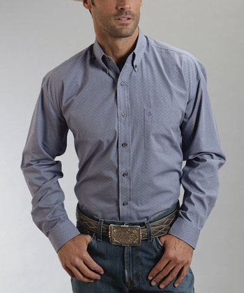 Blue Basket Weave Button-Up - Men