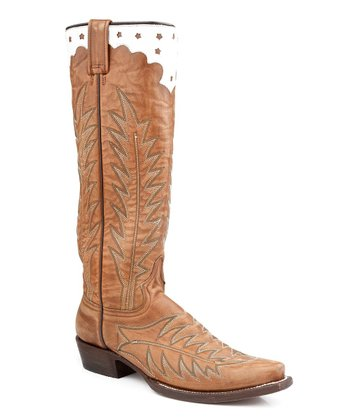 Brown Stovepipe Hand-Antiqued Cowboy Boot - Women