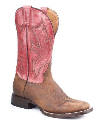 Oiled Brown & Metallic Salmon Cowboy Boot - Women