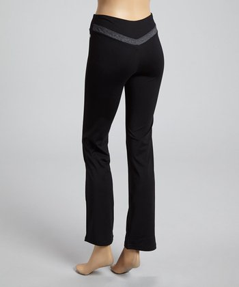 Black & Charcoal Contrast Yoga Pants
