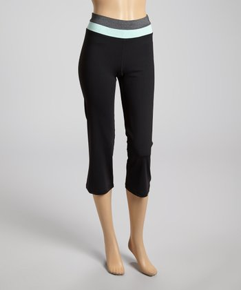 Charcoal & Neon Mint Zip-Back Capri Leggings