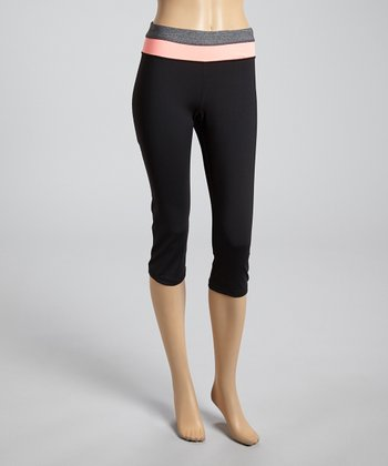 Charcoal & Neon Coral Capri Leggings