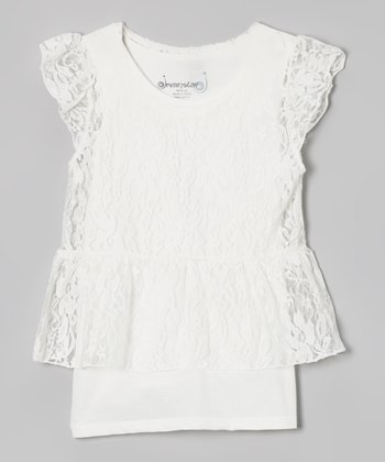 White Lace Overlay Peplum Top - Toddler & Girls