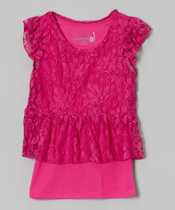 Bright Fuchsia Overlay Peplum Top - Toddler & Girls