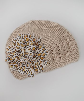 Tan Leopard Flower Crocheted Beanie