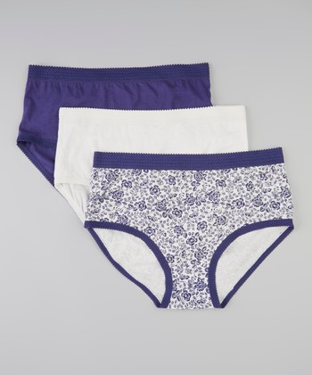 Peacoat Blue, Floral & Ivory Briefs Set - Women & Plus