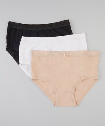 Tan, White & Black Briefs Set - Women & Plus